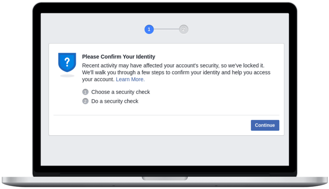 Risk-based Authentication dialog of Facebook